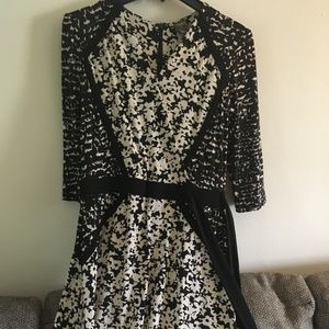 Black and Cream Tie Dress - Perfect for Work!